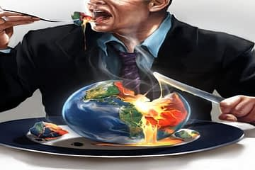 man eating world