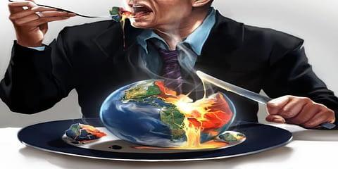 man eating world